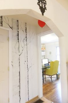 amazing painted wall...I might make two trees like this in my hallway too :) interesting