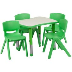 x Rectangular Green Plastic Height Adjustable Activity Table Set with 4 Chairs. We have a huge inventory of over School Tables and Chair Sets available. Set Includes 4 Stackable School Chairs and Rectangle Table. Kids Table And Chairs, Kid Table, Table And Chair Sets, Play Table, Dining Table, Table Legs, Toddler Chair, School Chairs, Plastic Tables