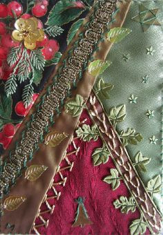I ❤ crazy quilting & ribbon embroidery . . . Christmas Card ~By Margreet from Holland