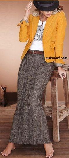 Crochet Patterns Skirt Long knit skirt with a wide slant Skirt Fashion, Boho Fashion, Autumn Fashion, Cute Clothes For Women, Dressy Skirts, Bohemian Mode, Best Wear, Shirt Skirt, Plus Size Womens Clothing