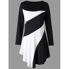 Plus Size Two Tone Asymmetric Tunic Tee - Black 2xl Mobile