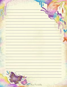 Free printable watercolor butterfly stationery for x 11 paper. Available in JPG or PDF format and in lined and unlined versions. Printable Lined Paper, Free Printable Stationery, Notebook Paper, Butterfly Watercolor, Stationery Paper, Card Patterns, Writing Paper, Note Paper, Planner