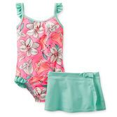 A tropical floral UPF 50  swimsuit with ruffles is perfect for some fun in the sun. She'll be the cutest one on the island! (psst...the skirt gives her a little extra coverage, too!)