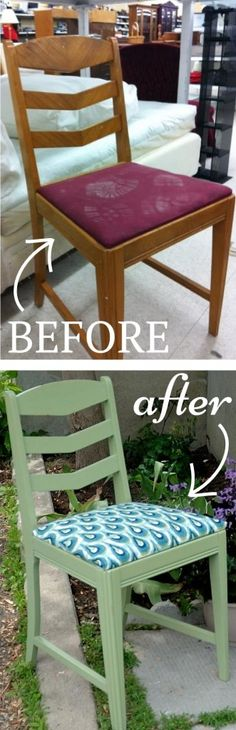 Thrift store chair makeover with Miss Mustard Seed's Milk Paint. Also, take a look at this AWSOME NEW THRIFT STORE APP at http://xthrift.com