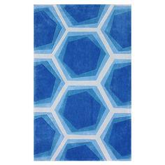 Hexagon blue rug