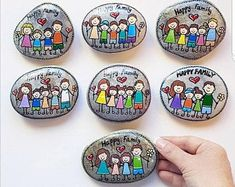 Pebble Painting, Pebble Art, Stone Painting, Pebble Stone, Stone Crafts, Rock Crafts, Family Gifts, Gifts For Mom, Painted Rocks