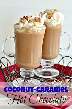 Coconut Caramel Hot Chocolate from #Kitchen Meets Girl--have your dessert and drink it, too! #beverages #chocolate