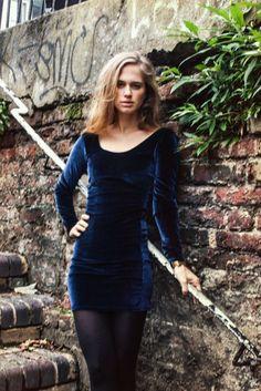 Zurzierde blog featured the Velvet Long Sleeve Dress in Winter Sky blue by #AmericanApparel.