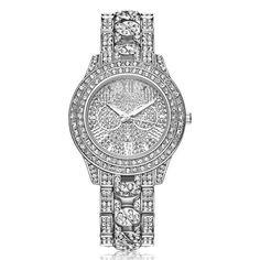 2017 New Women Rhinestone Bracelet Wristwatch ladies Crystal Quartz