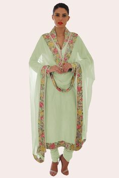 Pastel Green Parsi Gara Hand Embroidered Suit And Dupatta