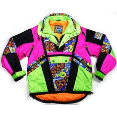 Vintage 90's Gilles Becker snowboard ski neon jacket fresh prince... ($170) ❤ liked on Polyvore featuring mens, men's clothing, men's outerwear, men's jackets, jackets, tops, outerwear and pink