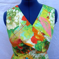 VTG Sears Hawaii Hawaiian Aloha Maxi Dress Cross Bodice Size 14 Neon Green Flora #Sears #Maxi #PartyCocktail