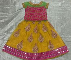 Net with buttis and mirror border and pink rawsilk  zari work with boat neck 7702919644