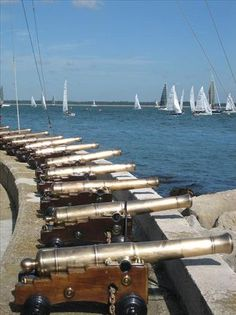 Signalling cannons at the Royal Yacht Squadron in Cowes - Isle of Wight, England