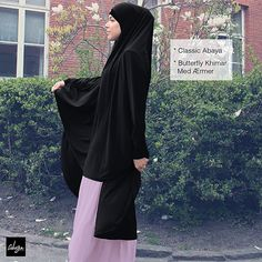 Basic Abaya & Black Butterfly Khimar With Sleeves