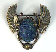 Antique 20's Czech Art Deco Egyptian Revival Lapis Glass Scarab Brooch / Pin