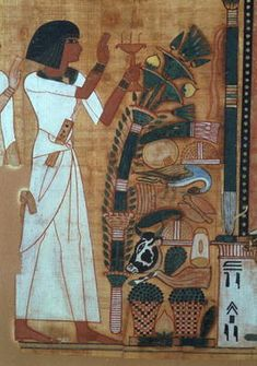 Egyptian 19th Dynasty - The Fumigation of Osiris, page from the Book of the Dead of Neb-Qued, Egyptian, New Kingdom (papyrus