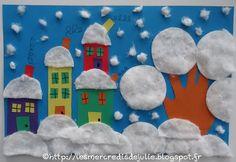 Les Mercredis de Julie : Village enneigé avec empreinte de main et collage de cotons