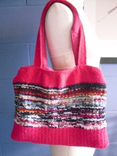 OOAK Hand Knitted Tote Bag Bright Pink and Multi by Kezylou