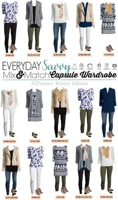 Check out this JCPenney capsule wardrobe that works great in the winter but will also easily transition to spring. These 15 mix & match outfits included will have you looking great while still being comfy. It includes white jeggings that are in style even in the winter. fashion. idea. collection
