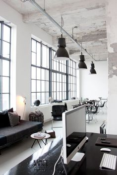 Work space in Industrial interior