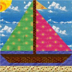 Free Quilt Block Pattern Sailboat n Sunshine Quilt Baby, Baby Boy Quilt Patterns, Baby Girl Quilts, Quilt Block Patterns, Pattern Blocks, Quilt Blocks, Sailboat Baby Quilt, Ocean Quilt, Beach Quilt