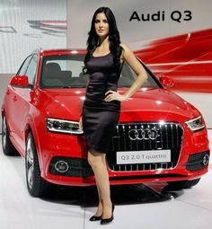 Katrina Kaif poses with Audi Q3 2.0 T quattro car during its unveiling ceremony. #Bollywood #Fashion #Style #Cars