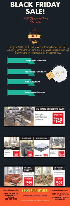 Black Friday Sale on #Furniture Items and enjoy the big deals on various furniture at Leon Furniture Store.