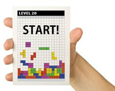 Personalized Video Game Greeting Card - Tetris 20th  Geek Birthday - 5 x 7. $4.00, via Etsy.
