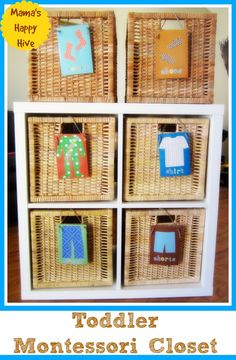 This Montessori Closet design is easy to assemble and affordable with the shelf and baskets found at IKEA.