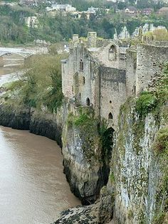 Chepstow Castle in Wales, on top of cliffs overlooking the River Wye, is the oldest surviving post-Roman stone fortification in Britain.