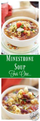 Minestrone Soup For One – this hearty Italian soup is filled with vegetables, beans, bacon and pasta. It's a flexible single-serving recipe that can be made with any number of your favorite vegetables and ingredients.