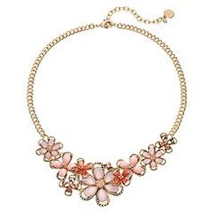 Dana Buchman Pink Rope Flower Statement Necklace