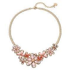 Dana Buchman Pink Rope Flower Statement Necklace
