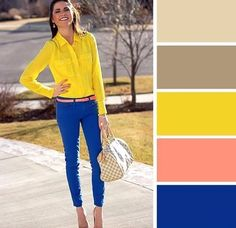 Yellow blouse, royal blue skinnies, with a coral colored belt, Ill take it Cobalt Jeans, Cobalt Blue Pants, Yellow Pants, White Pants, Yellow Blouse, Yellow Top, Mellow Yellow, Neon Yellow, Blue Orange