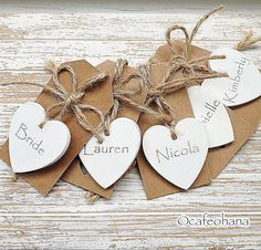 Items similar to Personalised Hand Painted Wooden Heart Favours Rustic Chic Decor Name Place Tags pack of 10 Ivory, white or colour on Etsy Heart Decorations, Wedding Decorations, Wedding Cards, Wedding Gifts, Wedding Favours, Homemade Wedding Favors, Paper Tags, Vintage Tags, Wooden Hearts