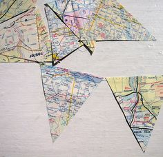 vintage map pennant banner going to make some of these from a map from home for our first birthday party there