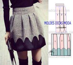 Analise a execução do molde de saia com barra que está explicada com grande rigor, em pormenor no desenho, para que conclua a modelagem com facilidade.