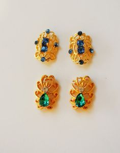 4 pcs of hollow 3d nail decoration green and blue by GlamourFavor