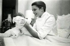 Elegant photo of Princess Grace with Princess Caroline - 1957