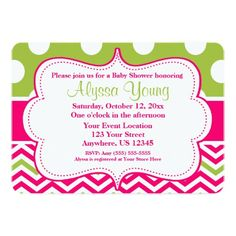 Invite your guests to your baby shower, bridal shower, birthday party or any event in a fun way with this hot pink and lime green chevron and polka dots invitation.