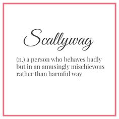 Scallywag ~ a person who behaves badly but in an amusingly mischievous rather than harmful way :: word porn
