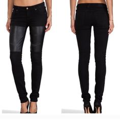 Elizabeth & James Jeans Black textile jeans with black leather patches. Regular--so never worn. Elizabeth and James Jeans Skinny