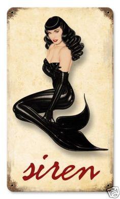 "Mermaid in Black Very Sexy Vintaged Metal Sign 8x14"" Siren Pin Up Girl   eBay"