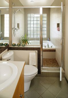 Modern bathroom with the shower and tub molded into one area. That is a new one for us.