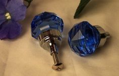 "COBALT BLUE 1"" wide Solid Crystal Glass Drawer Pull, Cabinet Knob  #Unbranded"