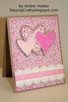 Staying Crafty stamped Valentine Card.