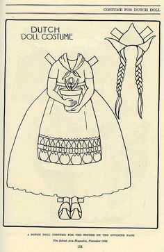 Sweet 1920s Dutch costume paper doll ensemble.