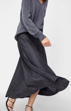 Shades Of Grey, Cashmere Sweaters, Minimalist Fashion, Daily Fashion, Herringbone, Midi Skirt, Personal Style, Zara, Style Inspiration