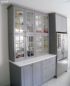 Stacked two regular height ikea upper cabinets to make a storage hutch, like how well it goes with the fridge is creative inspiration for us. Get more photo about diy ikea decor related with by looking at photos gallery at the bottom of this page. We are want to say …